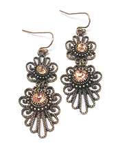 BOHEMIAN STYLE CRYSTAL AND METAL FILIGREE EARRING