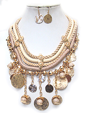 MULTI DISK DROP AND ROPE CHAIN STATEMENT NECKLACE SET