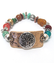 CHICOS STYLE VINTAGE METAL TREE OF LIFE STRETCH BRACELET