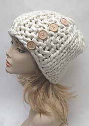 PREMIUM HAND KNIT BUTTON ACCENT OVERSIZE LOOPY MANGO BEANIE