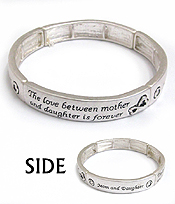 MOM AND DAUGHTER MESSAGE STRETCH BRACELET