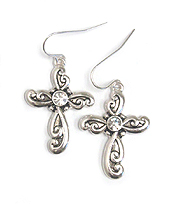 CRYSTAL AND DESIGNER TEXTURED CROSS EARRING