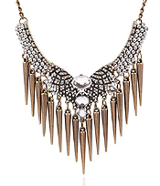 MULTI CRYSTAL AND SPIKE DANGLE DROP NECKLACE