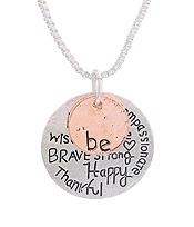 BE HAPPY THANKFUL MESSAGE NECKLACE