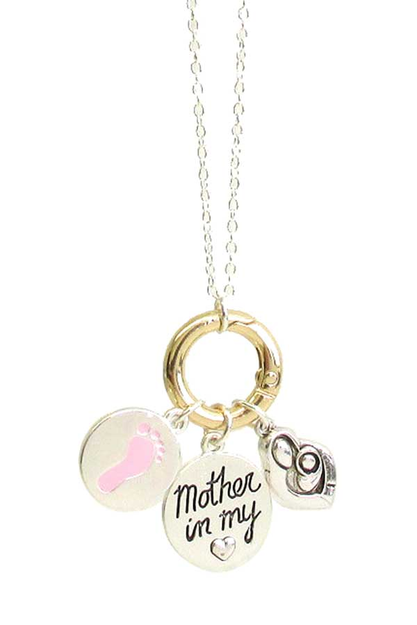 MOTHER THEME MULTI CHARM PENDANT NECKLACE - MOTHER IN MY HEART