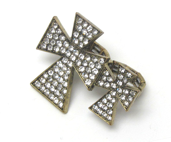 DOUBLE CRYSTAL FASHION CROSS DUAL FINGER RING