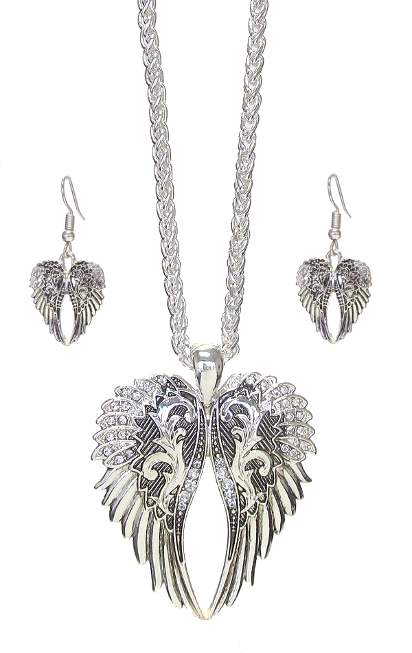 CRYSTAL ANGEL WING PENDANT NECKLACE SET