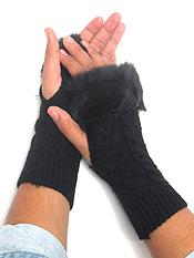 FUR TOP KNIT GLOVE - OPEN FINGER