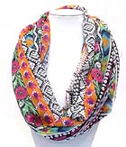 FOLKLORIC PATTERN PRINT INFINITY SCARF