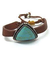 HANDMADE SEMI PRECIOUS TRIANGLE SHAPE STONE AND LEATHERETTE PULL TIE BRACELET