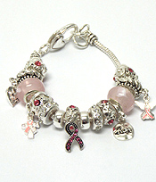 BREAST CANCER AWARENESS PANDORA STYLE PINK RIBBON CHARM METAL BRACELET