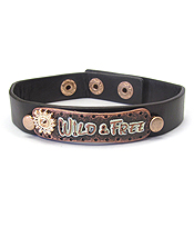 METAL PLATE AND LEATHER BRACELET - WIDE & FREE