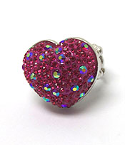 PUFFY HEART WITH CRYSTALS RING