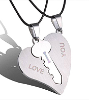 LOVE HEART AND KEY TWO PIECE NECKLACE