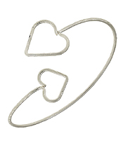 HANDMADE SIMPLE WIRE HEART BANGLE BRACELET