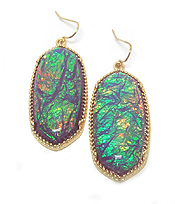 SOUTHERN STYLE OPALIC OVAL FISH HOOK EARRINGS
