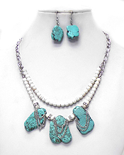 NATURAL STONE DOUBLE LAYER NECKLACE SET