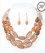 MULTI FACET RESIN STONE AND WOOD BEAD MIX 3 LAYER NECKLACE SET