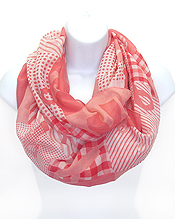 PINK RIBBON PRINT INFINITY SCARF