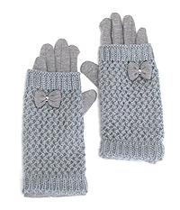BOW ACCENT KNIT DOUBLE LAYER GLOVES