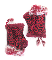 ANIMAL PRINT FAUX FUR OPEN FINGERTIP MITTEN GLOVES