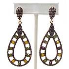 MULTI CRYSTAL DECO DOUBLE TEARDROP EARRING