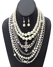 PEARL AND BOLD CHAIN LAYER NECKLACE SET