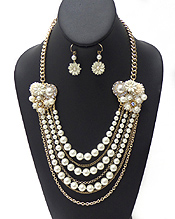CHAIN AND PEARL WITH FLOWERS NECKLACE SET