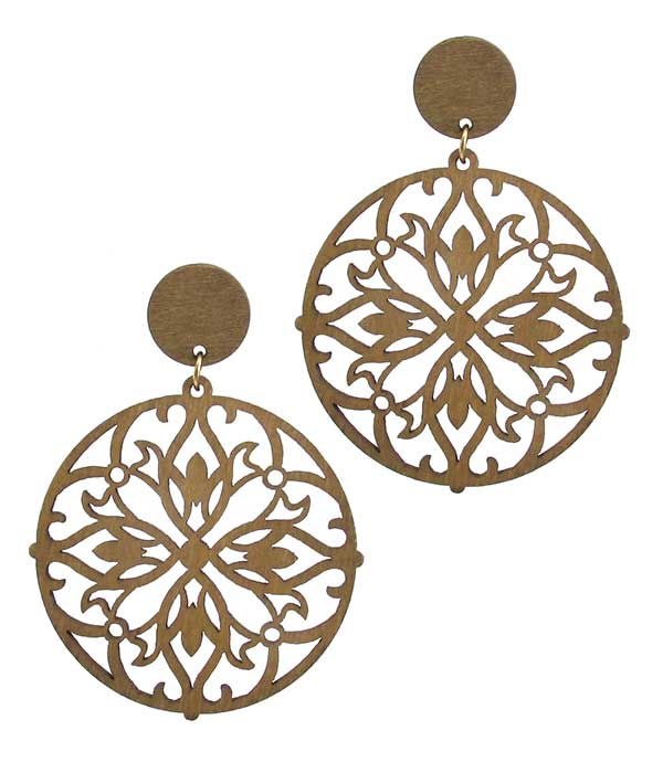 LASER CUT WOOD EARRING - LOTUS