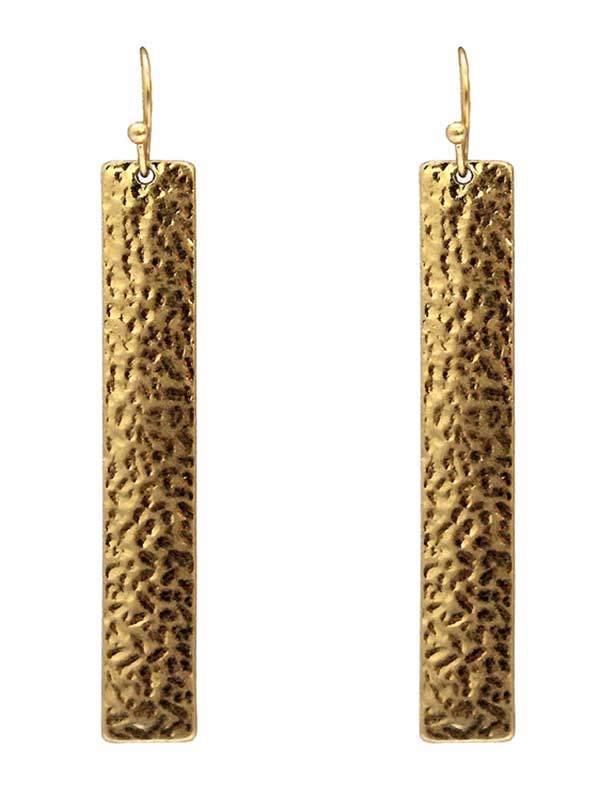 TEXTURED METAL BAR DROP EARRING