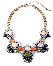 BOUTIQUE STYLE MULTI CRYSTAL MIX COLLAR NECKLACE
