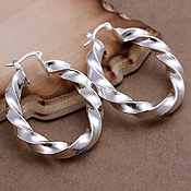 925 STERLING SILVER PLATED TWIST HOOP EARRING
