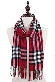 PLAID PATTERN 100% ACRYLIC OBLONG SCARF