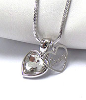 WHITEGOLD PLATING CRYSTAL HEART WITH LOVE HEART DUAL PENDANT NECKLACE