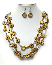 THREE LAYER WOODEN TYPE DISKS NECKLACE SET