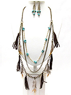 CHIP STONE FEATHER AND SUEDE DROP LONG CHAIN NECKLACE EARRING SET