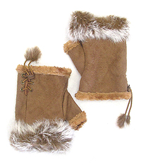 FAUX RABBIT FUR OPEN FINGERTIP MITTEN GLOVES