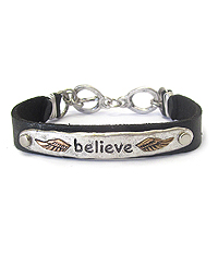 RELIGIOUS INSPIRATION VINTAGE METAL AND LEATHERETTE TOGGLE BRACELET - BELIEVE