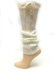VINTAGE LACE AND BUTTON ACCTNE VINTAGE CROCHET LONG BOOT WARMERS