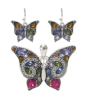 CRYSTAL BUTTERFLY PENDANT SET