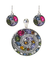 CRYSTAL DISK PENDANT SET
