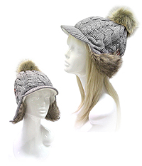 FUR TOP AND BACK HAND KNIT CABBIE HAT