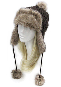 FUR TOP AND SIDE HAND KNIT WINTER HAT