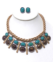 TWISTED METAL WITH STONE NECKLACE SET
