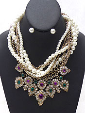 LAYER PEARL AND CHAIN FLORAL NECKLACE SET