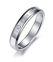 CRYSTAL ACCENT SIMPLE STAINLESS STEEL RING - YOU ARE MINE