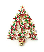 CHRISTMAS FLORAL TREE PIN