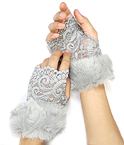 VINTAGE LACE AND FUR ACCENT OPEN FINGER GLOVE