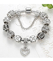 EUROPEAN STYLE INTERCHANGEABLE CHARM BRACELET -HEART