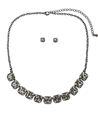 FACET STONE AND CRYSTAL MIX PARTY NECKLACE SET